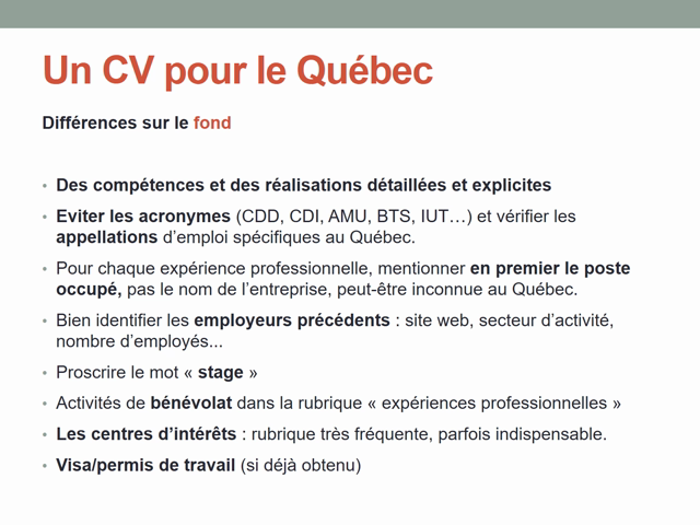 Adaptez vote CV à l'international