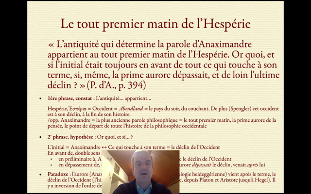 The time is out of joint II. Commentaire de « La Parole d'Anaximandre » de Heidegger