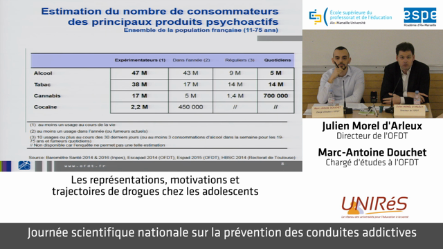 Journée scientifique nationale sur la prévention des conduites addictives - Julien Morel d'Arleux et Marc-Antoine Douchet